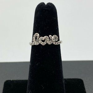 Pandora Signature Of Love Sparkling SS Ring Size 7